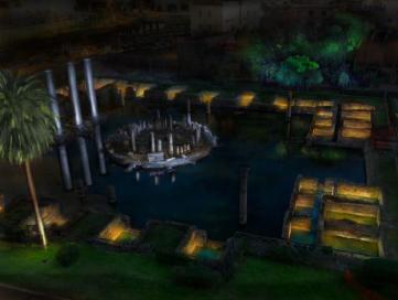 Rendering della illuminazione del Tempio di Serapide, (Macellum)