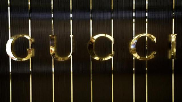 Gucci logo is seen in a store at Fiumicino airport in Rome, Italy, April 11, 2016. REUTERS/Max Rossi