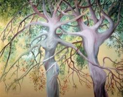 due-alberi-di-amore-dipinto-in-acquerello-su-tela