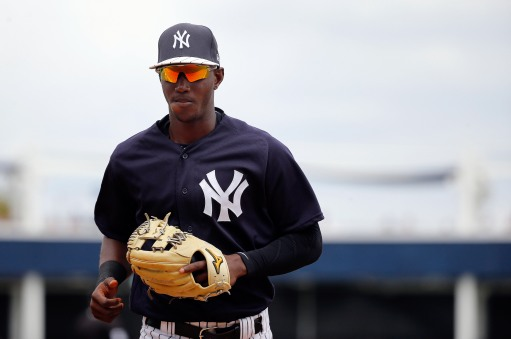 Mar 12, 2017; Tampa, FL, USA; New York Yankees shortstop Jorge Mateo (93) runs back to the dugout against the Atlanta Braves at George M. Steinbrenner Field. Mandatory Credit: Kim Klement-USA TODAY Sports