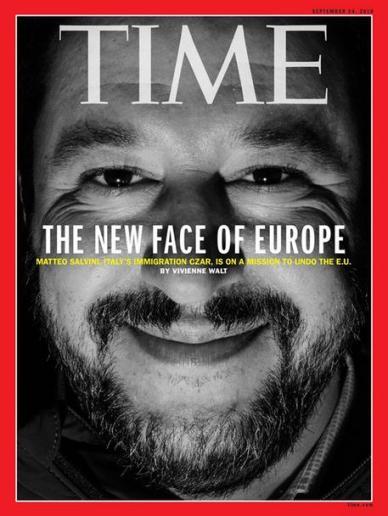 Salvini in copertina su Time,'il nuovo volto d'Europa'